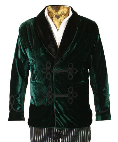 Victorian Mens Coats Green Velvet Solid Smoking Jackets |Antique Vintage Old Fashioned Wedding Theatrical Reenacting Costume | Sets