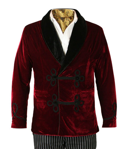 Victorian Mens Coats Burgundy Red Velvet Solid Smoking Jackets |Antique Vintage Old Fashioned Wedding Theatrical Reenacting Costume | Sets