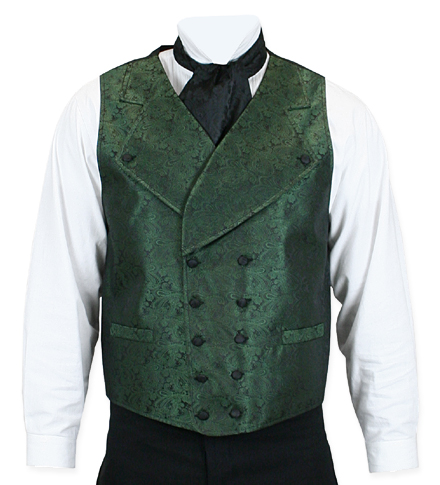 Victorian Old West Mens Vests Green Satin Synthetic Microfiber Paisley Dress |Antique Vintage Fashioned Wedding Theatrical Reenacting Costume |