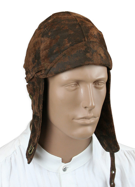 Victorian Steampunk Mens Hats Brown Faux Leather Aviator Helmets Caps |Antique Vintage Old Fashioned Wedding Theatrical Reenacting Costume | Stocking Stuffers