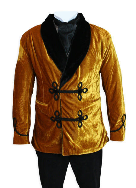 Victorian Mens Coats Gold Velvet Solid Smoking Jackets |Antique Vintage Old Fashioned Wedding Theatrical Reenacting Costume |