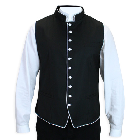 Victorian Old West Regency Mens Vests Black White Synthetic Solid Dress Clerical |Antique Vintage Fashioned Wedding Theatrical Reenacting Costume |