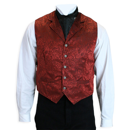 Victorian Old West Steampunk Mens Vests Red Silk Floral Dress |Antique Vintage Fashioned Wedding Theatrical Reenacting Costume |