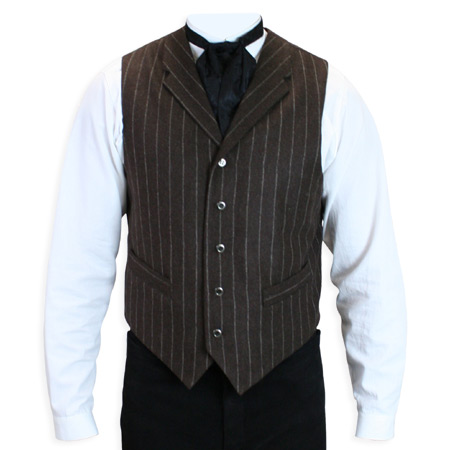 Victorian Old West Mens Vests Brown Wool Blend Stripe Dress Work |Antique Vintage Fashioned Wedding Theatrical Reenacting Costume |