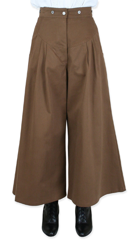 Victorian Old West Steampunk Ladies Pants Brown Cotton Solid Work Riding Split Skirts |Antique Vintage Fashioned Wedding Theatrical Reenacting Costume |