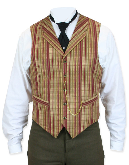 Victorian Old West Steampunk Mens Vests Red Cotton Stripe Work |Antique Vintage Fashioned Wedding Theatrical Reenacting Costume |