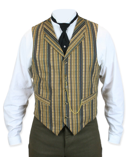 Victorian Old West Steampunk Mens Vests Blue Cotton Stripe Work |Antique Vintage Fashioned Wedding Theatrical Reenacting Costume |