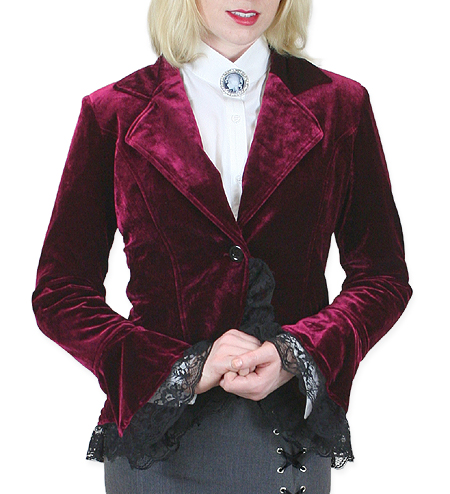 Victorian Steampunk Ladies Coats Burgundy Velvet Solid Outing Jackets |Antique Vintage Old Fashioned Wedding Theatrical Reenacting Costume | NYE