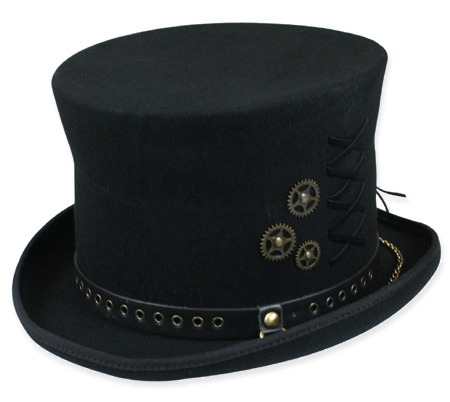 Victorian Old West Steampunk Mens Hats Black Wool Felt Top |Antique Vintage Fashioned Wedding Theatrical Reenacting Costume | Gifts for Him