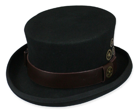 Victorian Steampunk Mens Hats Black Wool Felt Top |Antique Vintage Old Fashioned Wedding Theatrical Reenacting Costume |