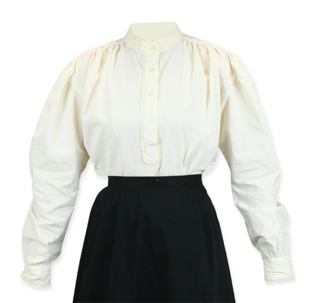Victorian Old West Steampunk Ladies Blouses Ivory Cotton Solid Work |Antique Vintage Fashioned Wedding Theatrical Reenacting Costume |