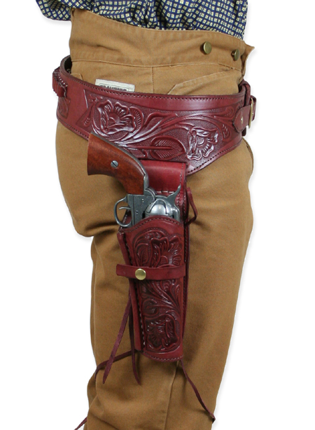 Old West Holsters and Gunbelts Red Leather Tooled Gunbelt Holster Combos |Antique Vintage Fashioned Wedding Theatrical Reenacting Costume |