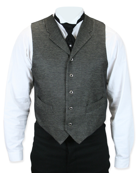 Victorian Old West Mens Vests Gray Synthetic Solid Dress |Antique Vintage Fashioned Wedding Theatrical Reenacting Costume |