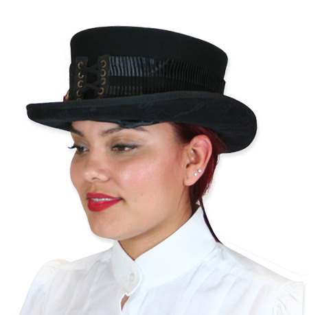 Victorian Old West Steampunk Ladies Hats Black Wool Felt Top Riding |Antique Vintage Fashioned Wedding Theatrical Reenacting Costume | Gifts for Her