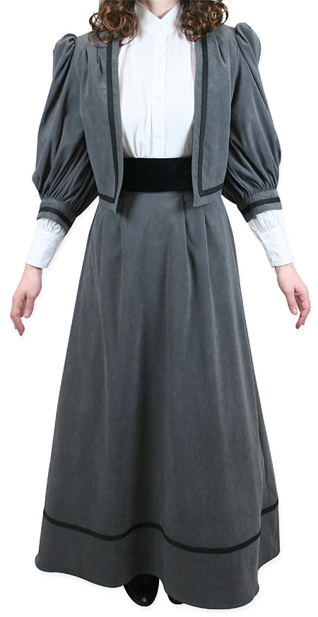 Victorian Old West Ladies Dresses and Suits Gray Synthetic Suede Solid |Antique Vintage Fashioned Wedding Theatrical Reenacting Costume |