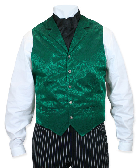 Victorian Old West Mens Vests Green Silk Floral Dress |Antique Vintage Fashioned Wedding Theatrical Reenacting Costume |