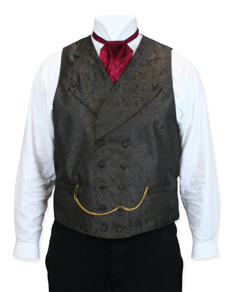 Victorian Old West Mens Vests Brown Synthetic Paisley Dress |Antique Vintage Fashioned Wedding Theatrical Reenacting Costume |