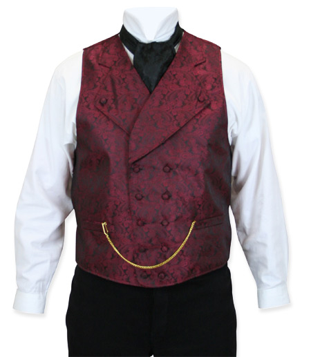 Victorian Old West Mens Vests Burgundy Synthetic Paisley Dress |Antique Vintage Fashioned Wedding Theatrical Reenacting Costume |