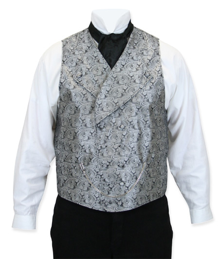 Victorian Old West Mens Vests Silver Gray Satin Synthetic Microfiber Paisley Dress |Antique Vintage Fashioned Wedding Theatrical Reenacting Costume |