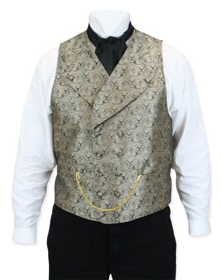 Victorian Old West Regency Mens Vests Gold Satin Synthetic Microfiber Paisley Dress |Antique Vintage Fashioned Wedding Theatrical Reenacting Costume |
