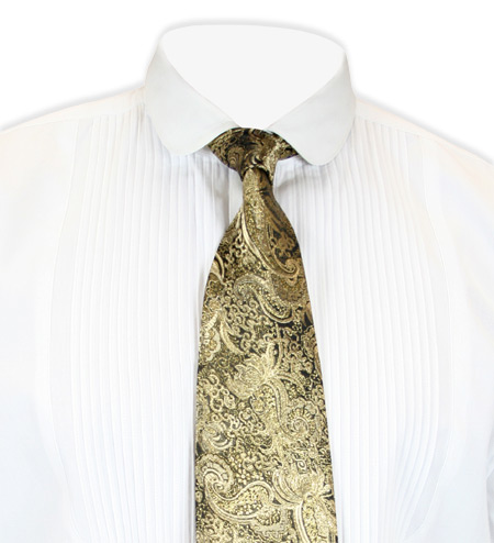 Victorian Old West Mens Ties Gold Satin Synthetic Paisley Four-In-Hand |Antique Vintage Fashioned Wedding Theatrical Reenacting Costume |