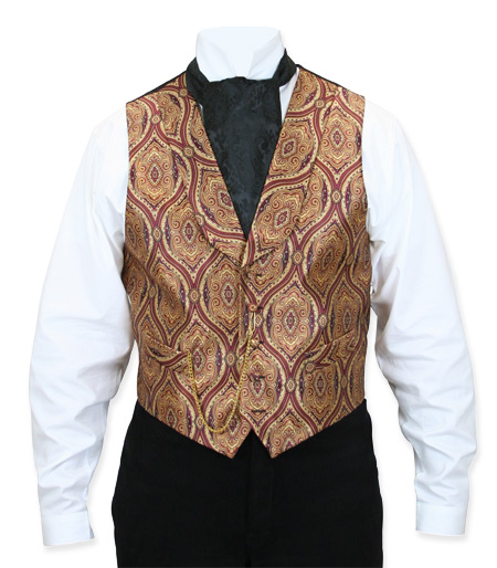 Victorian Old West Mens Vests Red Synthetic Print Dress |Antique Vintage Fashioned Wedding Theatrical Reenacting Costume |