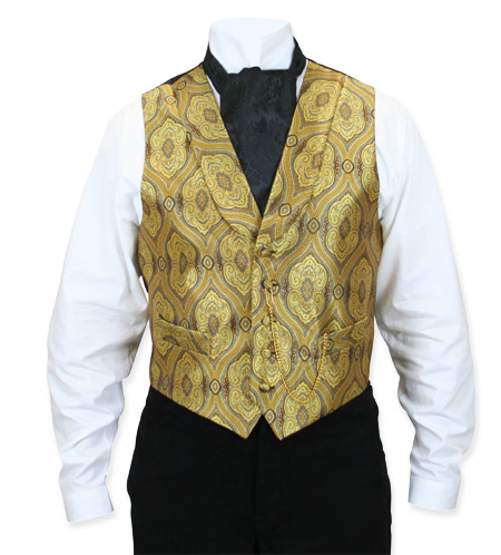 Victorian Old West Mens Vests Gold Satin Synthetic Microfiber Print Dress |Antique Vintage Fashioned Wedding Theatrical Reenacting Costume |