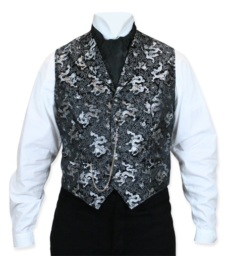 Victorian Old West Mens Vests Silver Black Synthetic Print Dress |Antique Vintage Fashioned Wedding Theatrical Reenacting Costume | Dragon