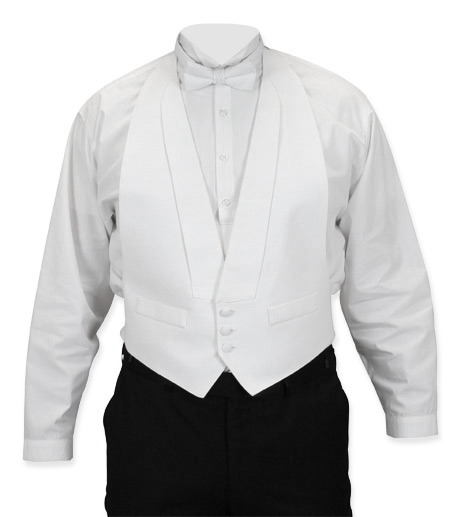 Victorian Mens Vests White Synthetic Solid Geometric Dress |Antique Vintage Old Fashioned Wedding Theatrical Reenacting Costume |