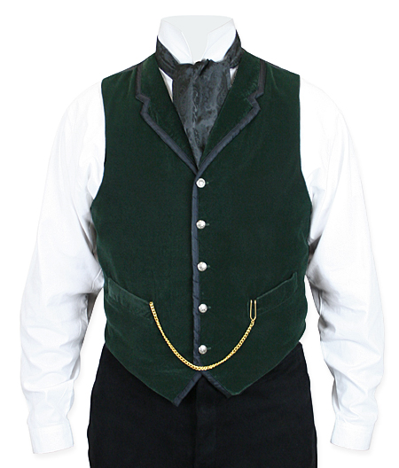 Victorian Steampunk Mens Vests Green Velvet Solid Dress |Antique Vintage Old Fashioned Wedding Theatrical Reenacting Costume |