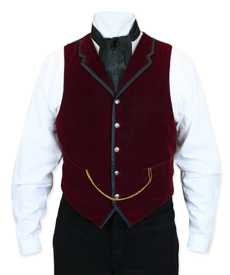 Victorian Steampunk Mens Vests Burgundy Velvet Solid Dress |Antique Vintage Old Fashioned Wedding Theatrical Reenacting Costume |