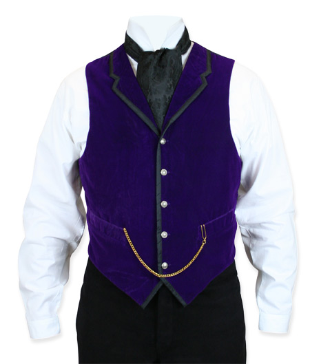 Victorian Steampunk Mens Vests Purple Velvet Solid Dress |Antique Vintage Old Fashioned Wedding Theatrical Reenacting Costume |