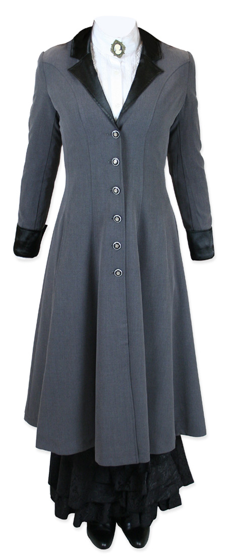 Victorian Old West Steampunk Ladies Coats Gray Synthetic Frock |Antique Vintage Fashioned Wedding Theatrical Reenacting Costume |