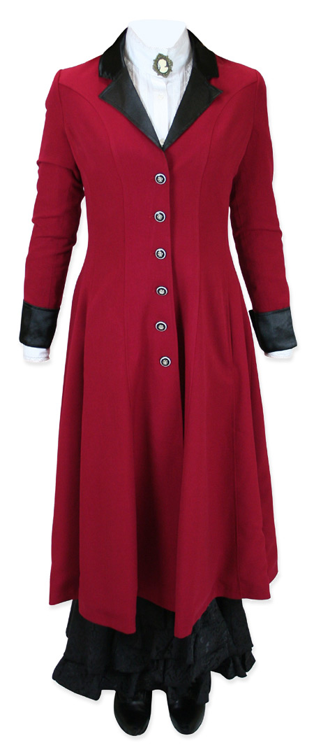 Victorian Old West Steampunk Ladies Coats Red Synthetic Frock |Antique Vintage Fashioned Wedding Theatrical Reenacting Costume |