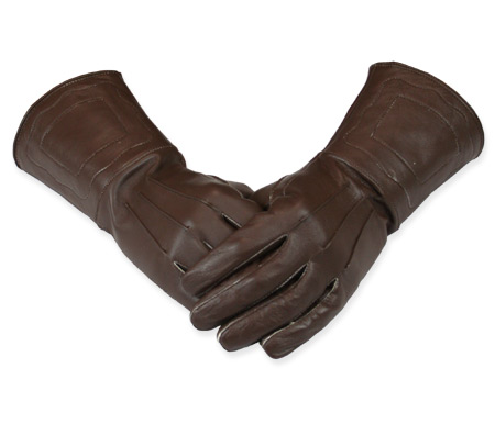 Victorian Old West Steampunk Mens Accessories Brown Leather Gauntlets Gloves |Antique Vintage Fashioned Wedding Theatrical Reenacting Costume |