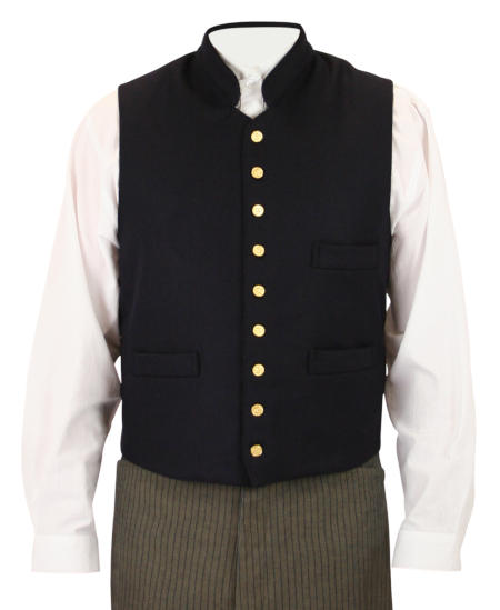 Victorian Old West Steampunk Mens Vests Blue Wool Blend Synthetic Solid Work Clerical |Antique Vintage Fashioned Wedding Theatrical Reenacting Costume |