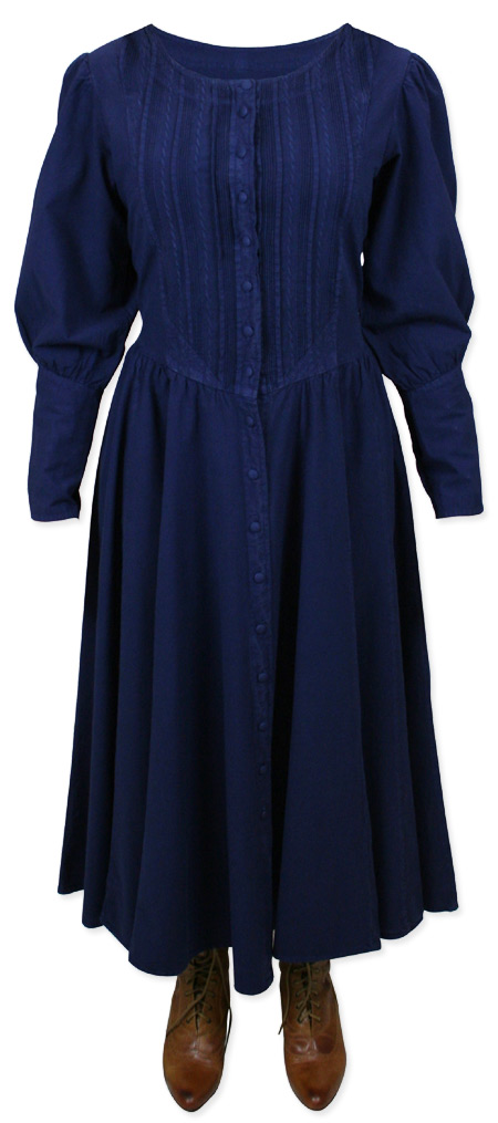 Victorian Old West Ladies Dresses and Suits Blue Cotton Solid |Antique Vintage Fashioned Wedding Theatrical Reenacting Costume |