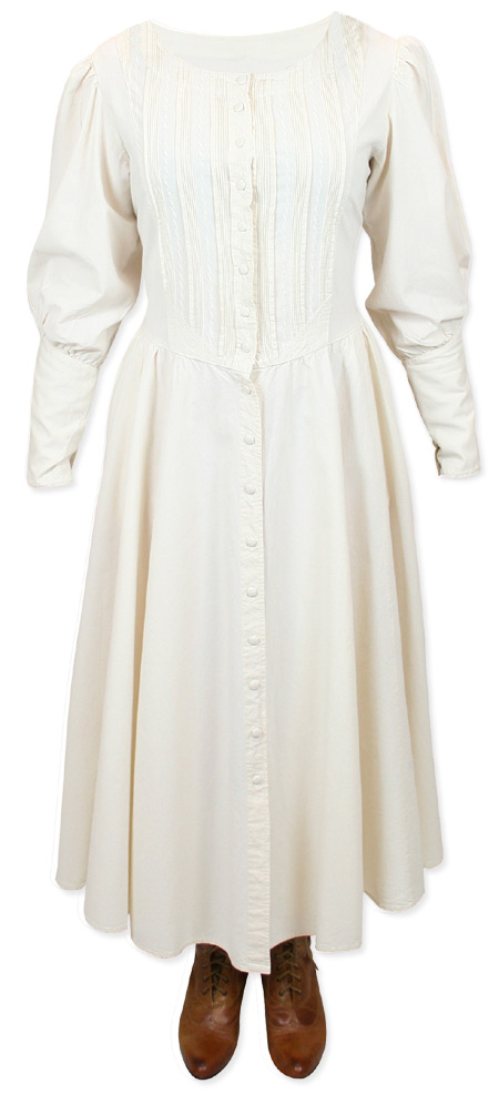 Victorian Old West Ladies Dresses and Suits Ivory Cotton Solid |Antique Vintage Fashioned Wedding Theatrical Reenacting Costume |