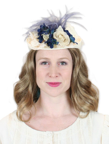 Victorian Old West Ladies Hats Ivory Blue Straw Lace Small French |Antique Vintage Fashioned Wedding Theatrical Reenacting Costume |