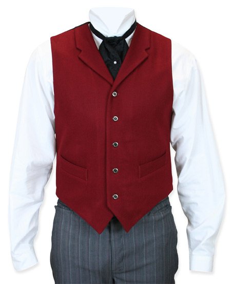 Victorian Old West Mens Vests Burgundy Wool Solid Dress |Antique Vintage Fashioned Wedding Theatrical Reenacting Costume |