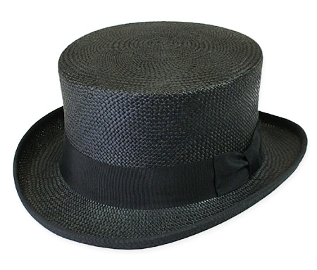 Victorian Old West Mens Hats Black Straw Top |Antique Vintage Fashioned Wedding Theatrical Reenacting Costume |