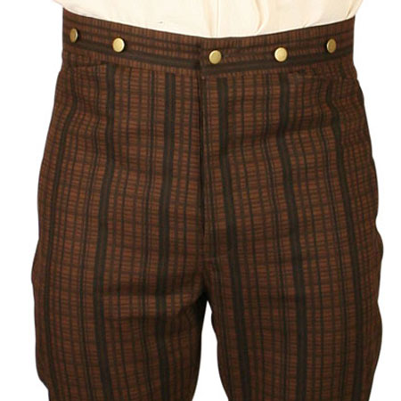 Victorian Old West Steampunk Mens Pants Brown Cotton Stripe Work |Antique Vintage Fashioned Wedding Theatrical Reenacting Costume |