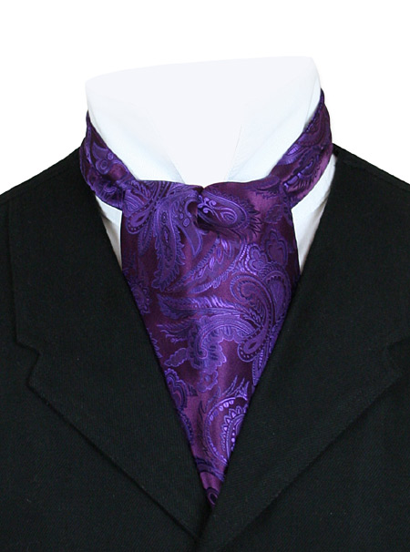 Victorian Old West Mens Ties Purple Satin Synthetic Microfiber Paisley Ascots |Antique Vintage Fashioned Wedding Theatrical Reenacting Costume |