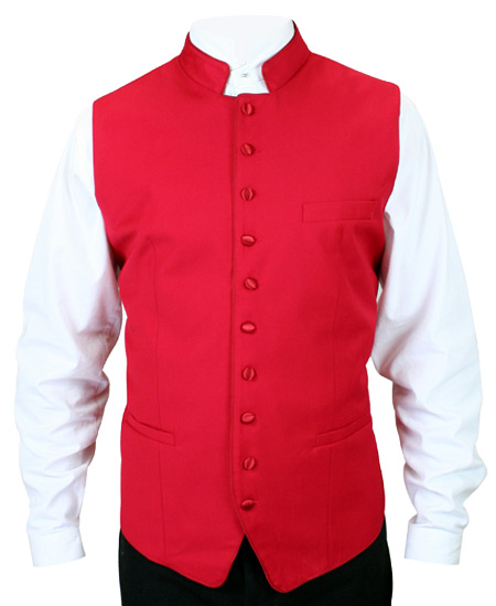 Victorian Regency Mens Vests Red Synthetic Solid Dress Clerical |Antique Vintage Old Fashioned Wedding Theatrical Reenacting Costume |