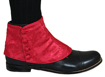Victorian Steampunk Mens Footwear Red Satin Synthetic Spats and Gaiters Matched Separates |Antique Vintage Old Fashioned Wedding Theatrical Reenacting Costume |