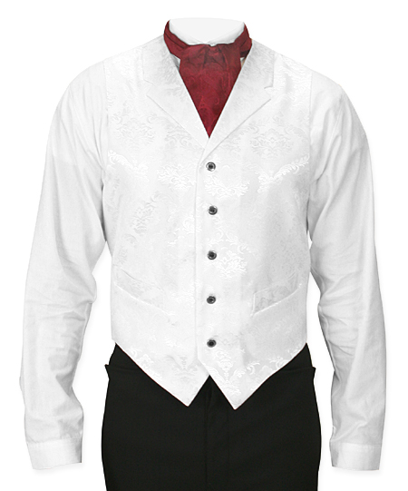 Victorian Old West Mens Vests White Satin Synthetic Microfiber Floral Dress |Antique Vintage Fashioned Wedding Theatrical Reenacting Costume |