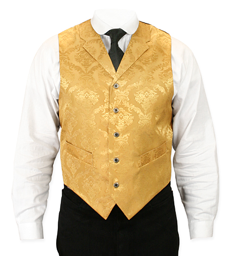 Victorian Old West Mens Vests Gold Satin Synthetic Microfiber Floral Dress |Antique Vintage Fashioned Wedding Theatrical Reenacting Costume |