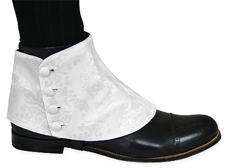 Victorian Steampunk Mens Footwear White Satin Synthetic Spats and Gaiters Matched Separates |Antique Vintage Old Fashioned Wedding Theatrical Reenacting Costume |