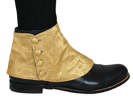 Victorian Steampunk Mens Footwear Gold Satin Synthetic Spats and Gaiters Matched Separates |Antique Vintage Old Fashioned Wedding Theatrical Reenacting Costume |
