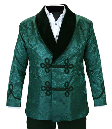Victorian Mens Coats Green Synthetic Floral Smoking Jackets |Antique Vintage Old Fashioned Wedding Theatrical Reenacting Costume | Sets